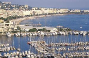 Cannes' Vieux Port with Palais des Festivals and the Croisette