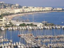 Cannes' Vieux Port with Palais des Festivals and the Croisette